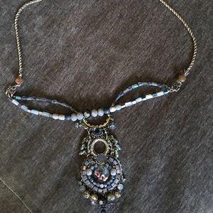 Designer necklace, beading, silver